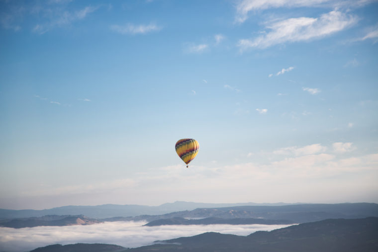 Hot Air Balloon over the mountains