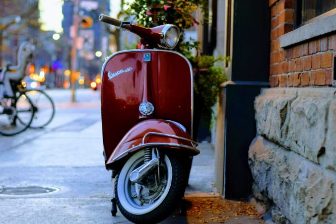 Vespa scooter in street